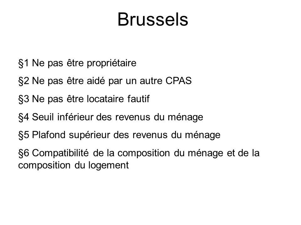 Brussels §1 Ne pas être propriétaire §2 Ne pas être aidé par un autre CPAS §3 Ne pas être locataire fautif §4 Seuil inférieur des revenus du ménage §5