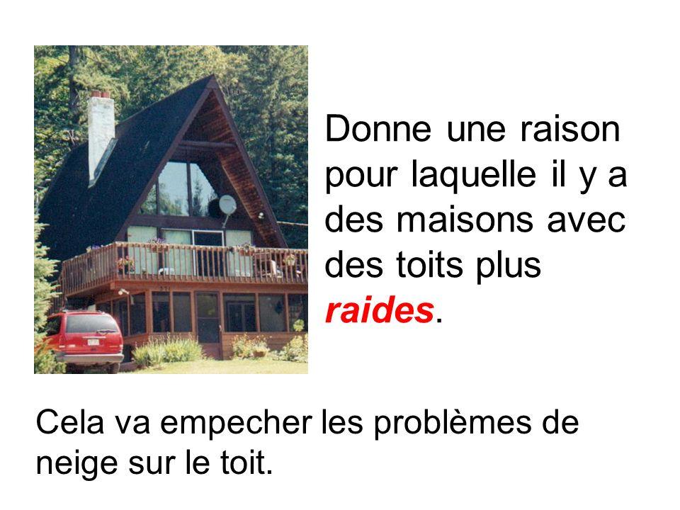 Donne une raison pour laquelle il y a des maisons avec des toits plus raides. Cela va empecher les problèmes de neige sur le toit.