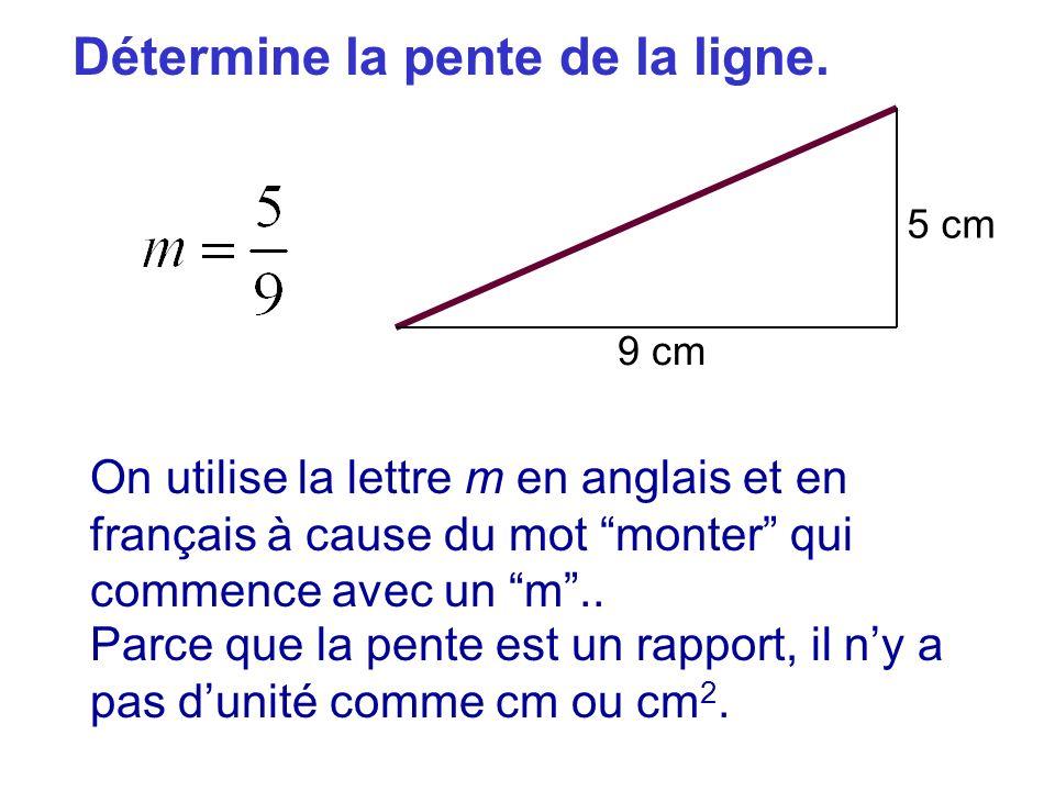 Détermine la pente de la ligne. 5 cm 9 cm On utilise la lettre m en anglais et en français à cause du mot monter qui commence avec un m.. Parce que la
