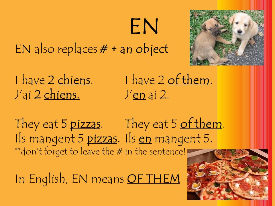 EN EN also replaces # + an object I have 2 chiens.I have 2 of them. Jai 2 chiens.Jen ai 2. They eat 5 pizzas. They eat 5 of them. Ils mangent 5 pizzas