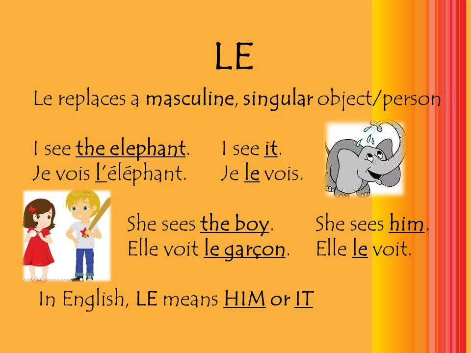 LA La replaces a feminine, singular object/person We see the turtle.