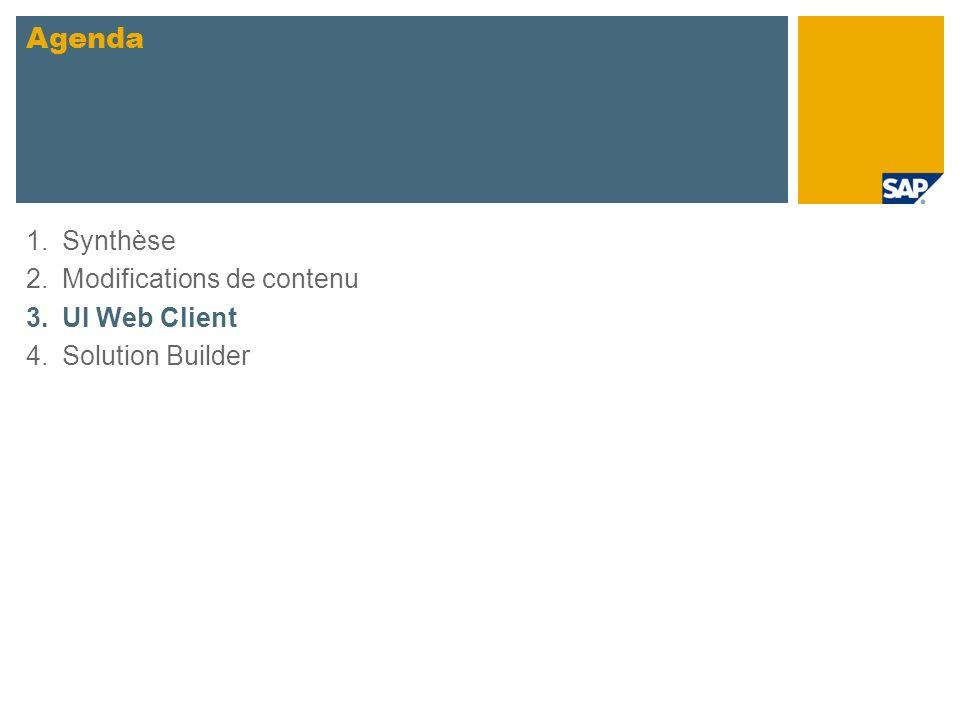 1.Synthèse 2.Modifications de contenu 3.UI Web Client 4.Solution Builder Agenda