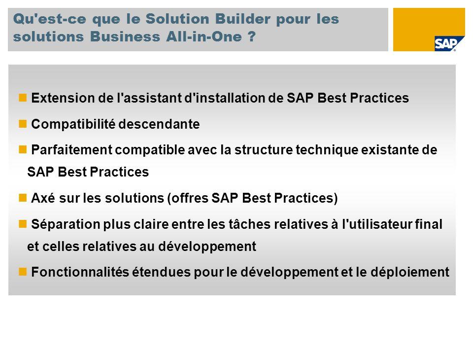 Qu'est-ce que le Solution Builder pour les solutions Business All-in-One ? Extension de l'assistant d'installation de SAP Best Practices Compatibilité