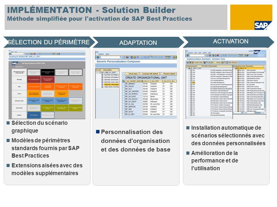 IMPLÉMENTATION - Solution Builder Méthode simplifiée pour l'activation de SAP Best Practices SÉLECTION DU PÉRIMÈTRE ACTIVATION ADAPTATION Sélection du