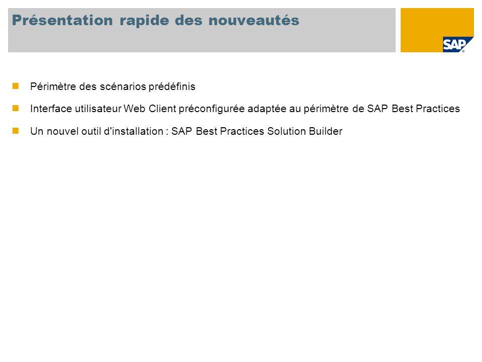 Présentation rapide des nouveautés Périmètre des scénarios prédéfinis Interface utilisateur Web Client préconfigurée adaptée au périmètre de SAP Best