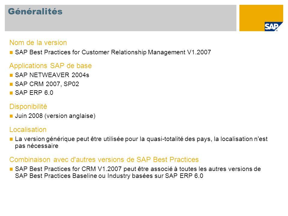 Généralités Nom de la version SAP Best Practices for Customer Relationship Management V1.2007 Applications SAP de base SAP NETWEAVER 2004s SAP CRM 200