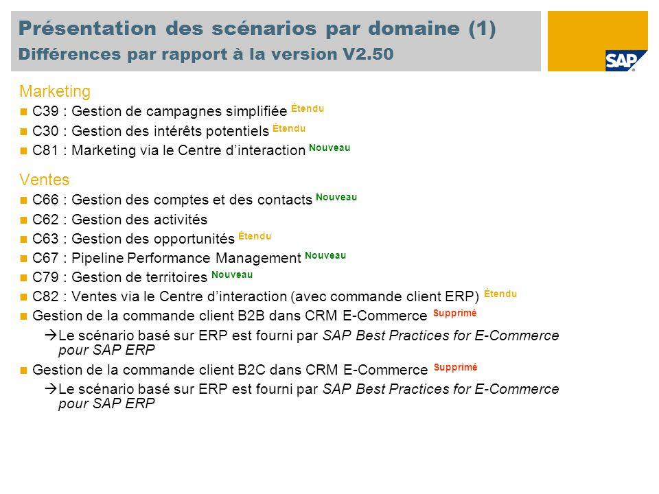 Présentation des scénarios par domaine (1) Différences par rapport à la version V2.50 Marketing C39 : Gestion de campagnes simplifiée Étendu C30 : Ges