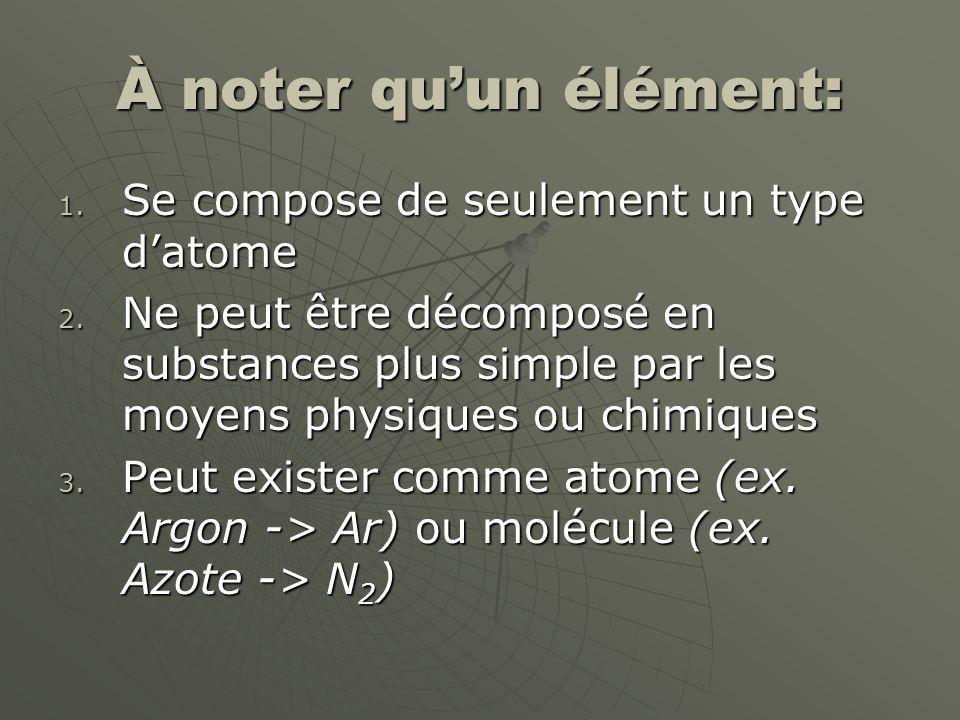 À noter quun élément: 1. Se compose de seulement un type datome 2. Ne peut être décomposé en substances plus simple par les moyens physiques ou chimiq