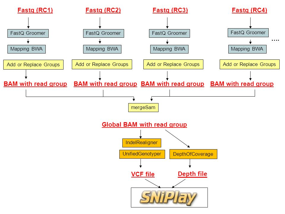 Global BAM with read group FastQ Groomer Mapping BWA IndelRealigner UnifiedGenotyper VCF file Fastq (RC1) BAM with read group FastQ Groomer Mapping BWA Fastq (RC2) BAM with read group FastQ Groomer Mapping BWA Fastq (RC3) BAM with read group FastQ Groomer Mapping BWA Fastq (RC4) BAM with read group ….