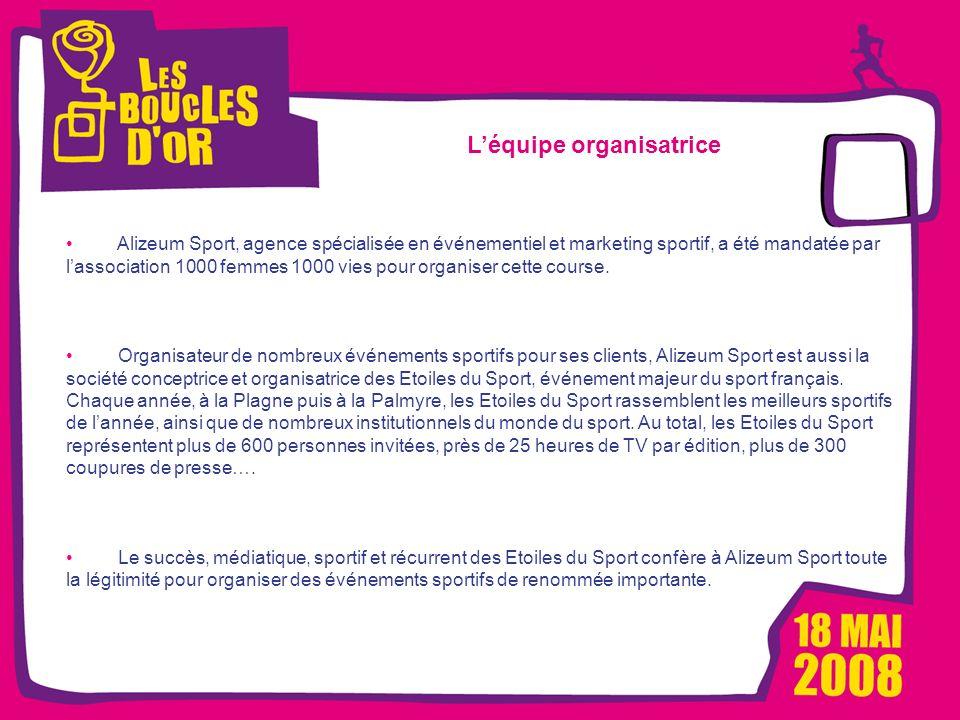 1000 femmes, 1000 vies pour Métro - Mars 2008 Les Boucles dOr, un événement Alizeum Sport Léquipe organisatrice Alizeum Sport, agence spécialisée en é
