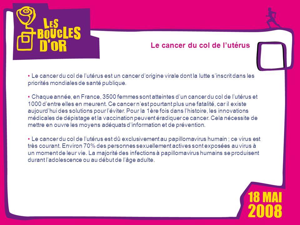 1000 femmes, 1000 vies pour Métro - Mars 2008 Les Boucles dOr, un événement Alizeum Sport Le cancer du col de lutérus Le cancer du col de lutérus est