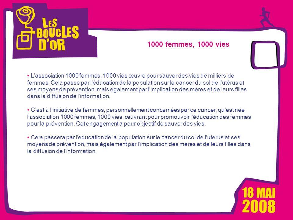 1000 femmes, 1000 vies pour Métro - Mars 2008 Les Boucles dOr, un événement Alizeum Sport 1000 femmes, 1000 vies Lassociation 1000 femmes, 1000 vies œ