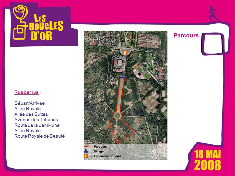 1000 femmes, 1000 vies pour Métro - Mars 2008 Les Boucles dOr, un événement Alizeum Sport Parcours Rue par rue : Départ/Arrivée : Allée Royale Allée d
