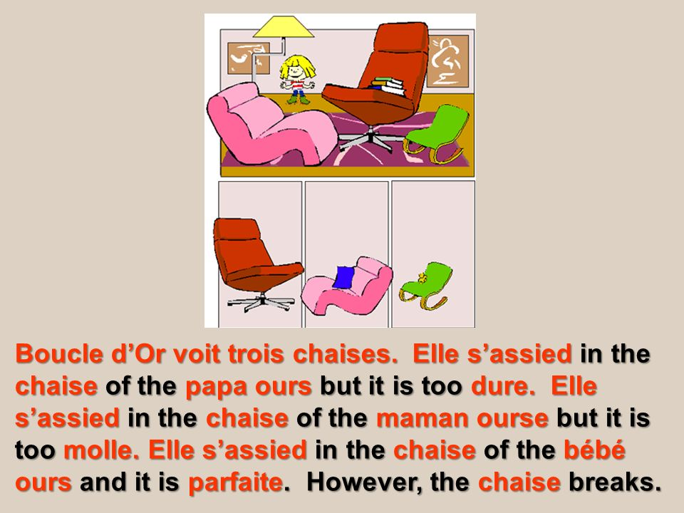 Boucle dOr voit trois chaises. Elle sassied in the chaise of the papa ours but it is too dure. Elle sassied in the chaise of the maman ourse but it is