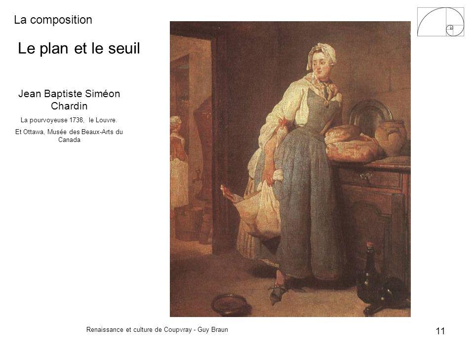 La composition Renaissance et culture de Coupvray - Guy Braun 11 Le plan et le seuil Jean Baptiste Siméon Chardin La pourvoyeuse 1738, le Louvre. Et O