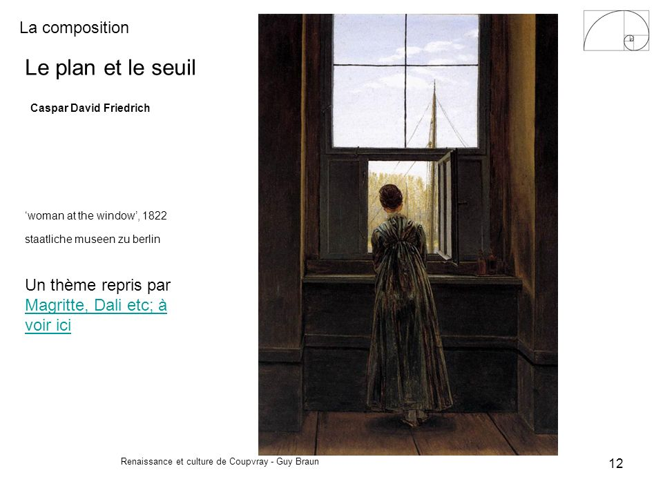 La composition Renaissance et culture de Coupvray - Guy Braun 12 Le plan et le seuil Caspar David Friedrich woman at the window, 1822 staatliche musee