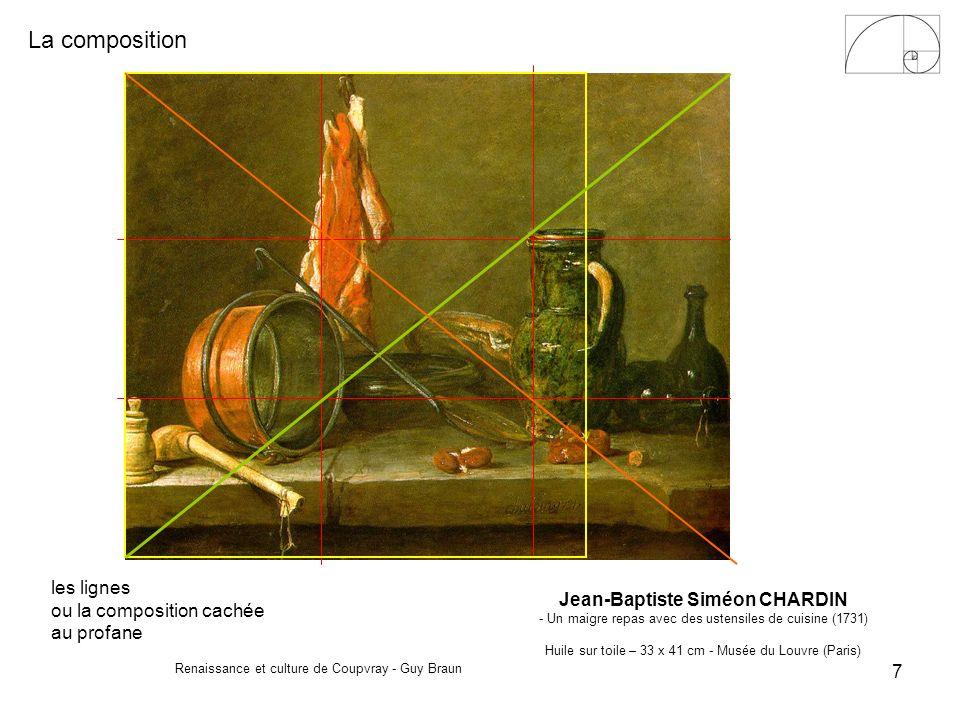 La composition Renaissance et culture de Coupvray - Guy Braun 7 les lignes ou la composition cachée au profane Jean-Baptiste Siméon CHARDIN - Un maigr