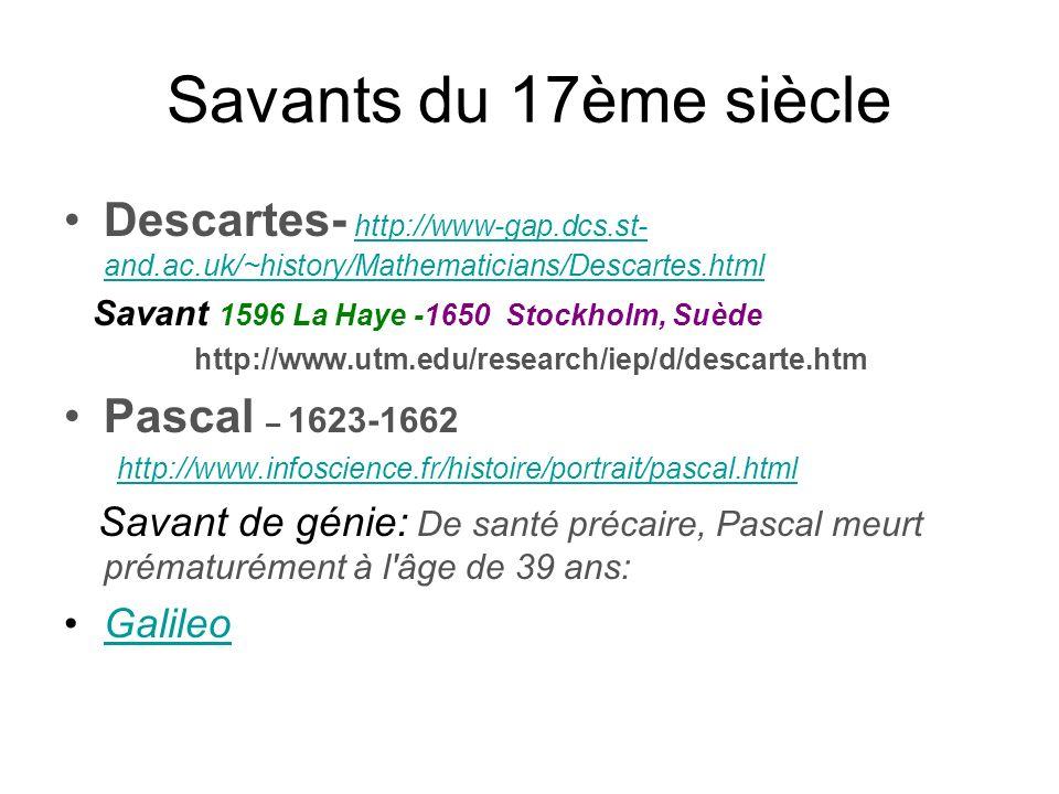 Savants du 17ème siècle Descartes- http://www-gap.dcs.st- and.ac.uk/~history/Mathematicians/Descartes.html http://www-gap.dcs.st- and.ac.uk/~history/M