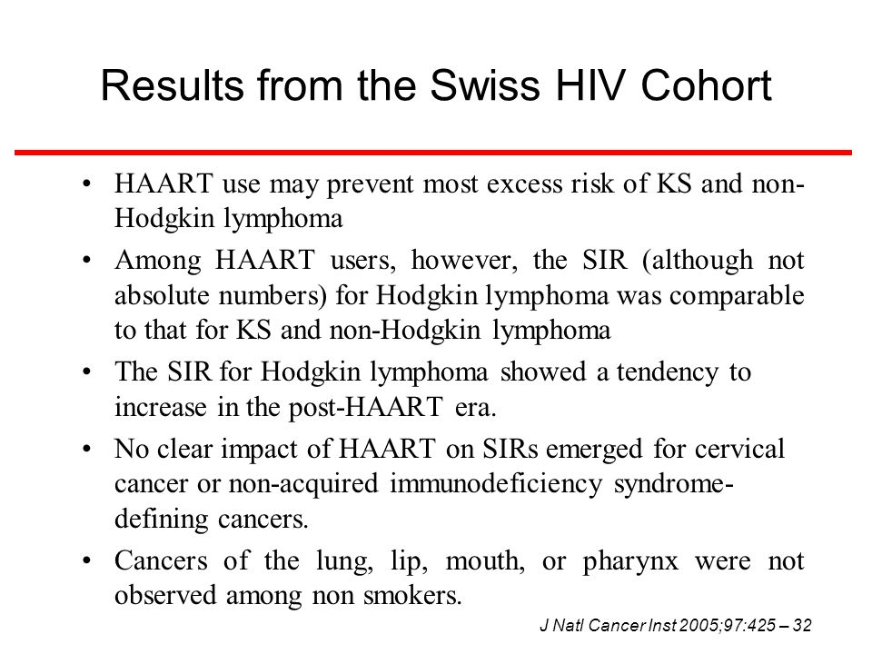 Results from the Swiss HIV Cohort HAART use may prevent most excess risk of KS and non- Hodgkin lymphoma Among HAART users, however, the SIR (although