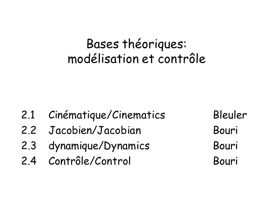 Bases théoriques: modélisation et contrôle 2.1 Cinématique/CinematicsBleuler 2.2 Jacobien/JacobianBouri 2.3 dynamique/DynamicsBouri 2.4 Contrôle/ControlBouri