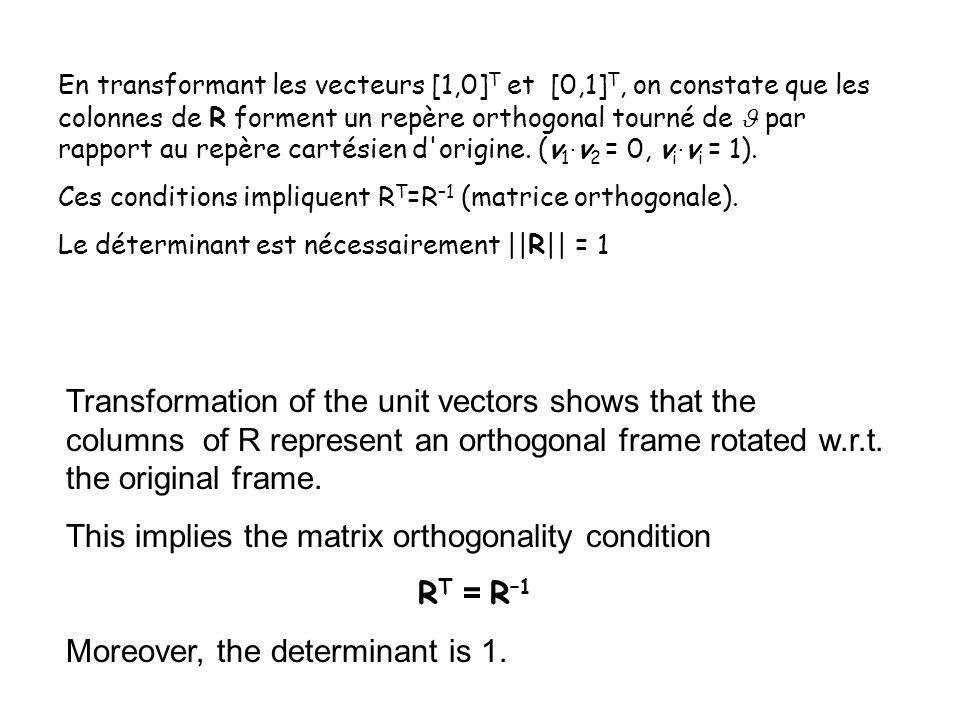 En transformant les vecteurs [1,0] T et [0,1] T, on constate que les colonnes de R forment un repère orthogonal tourné de par rapport au repère cartésien d origine.