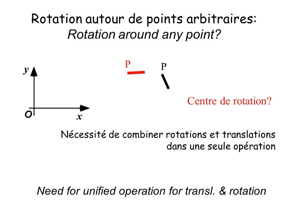 Nécessité de combiner rotations et translations dans une seule opération Rotation autour de points arbitraires: Rotation around any point.