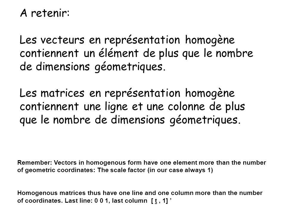 A retenir: Les vecteurs en représentation homogène contiennent un élément de plus que le nombre de dimensions géometriques.