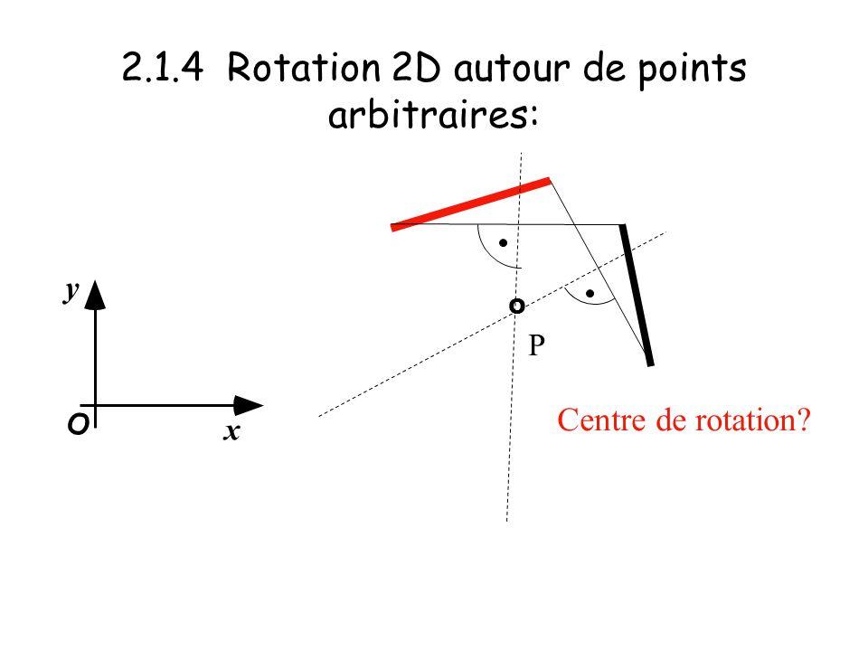 2.1.4 Rotation 2D autour de points arbitraires: x y O Centre de rotation? P O