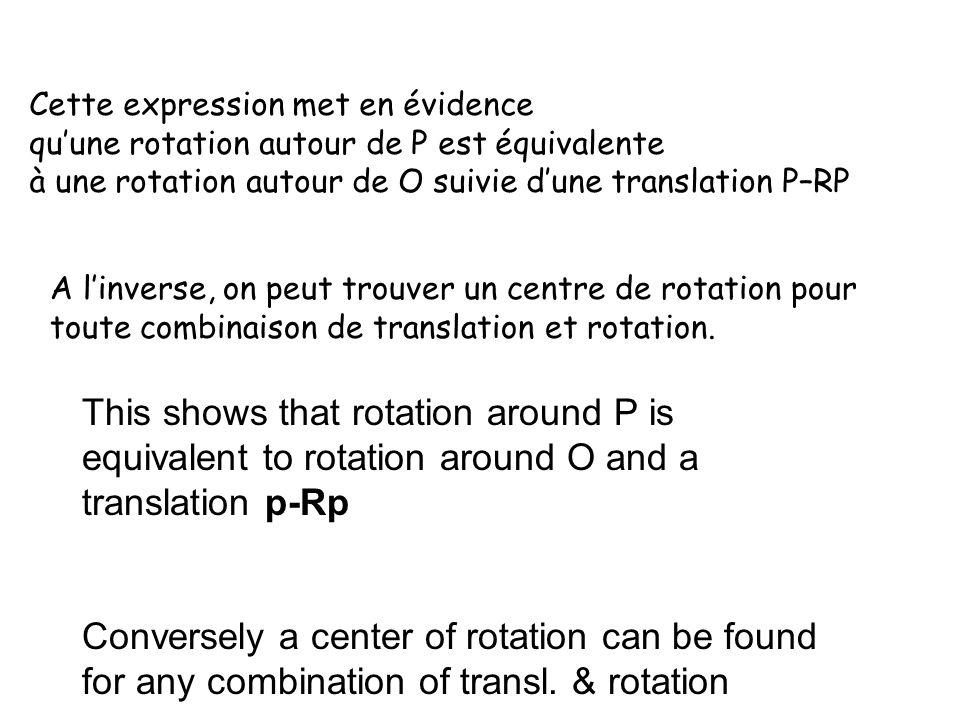 Cette expression met en évidence quune rotation autour de P est équivalente à une rotation autour de O suivie dune translation P–RP A linverse, on peut trouver un centre de rotation pour toute combinaison de translation et rotation.