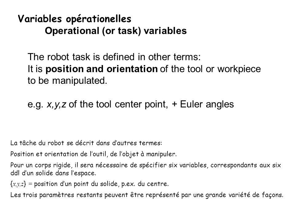 Variables opérationelles Operational (or task) variables La tâche du robot se décrit dans dautres termes: Position et orientation de loutil, de lobjet à manipuler.