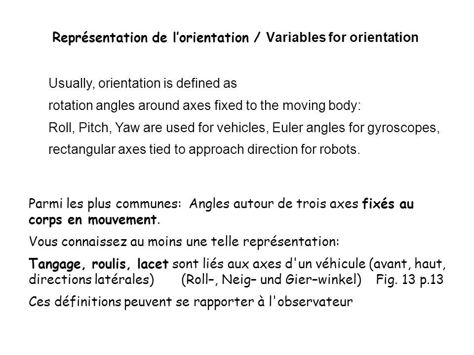 Représentation de lorientation / Variables for orientation Parmi les plus communes: Angles autour de trois axes fixés au corps en mouvement.