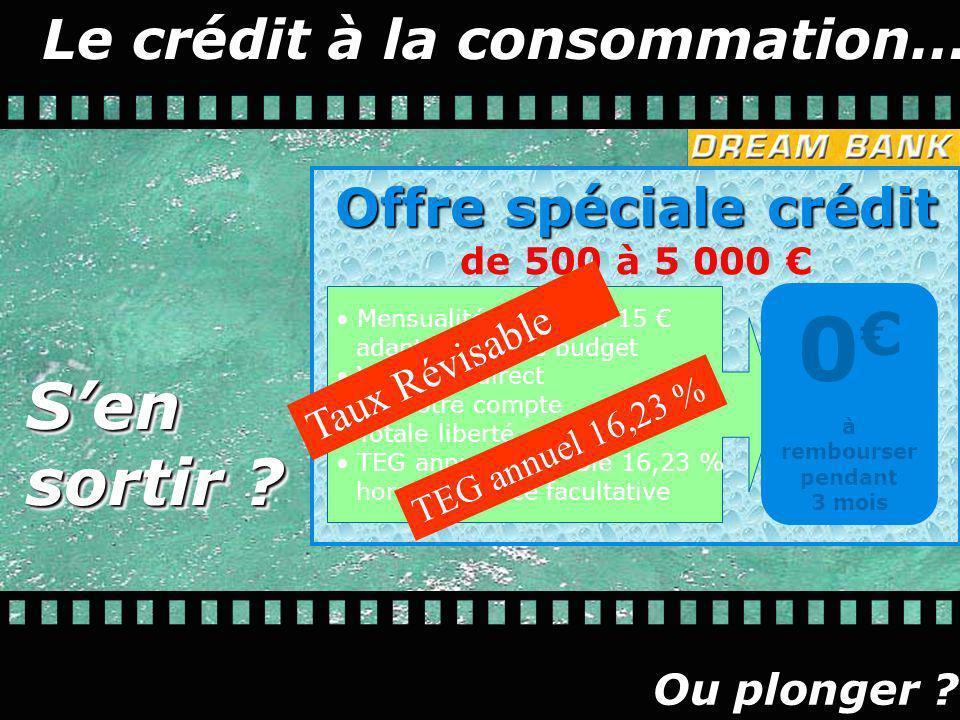 Le crédit à la consommation… Offre spéciale crédit Offre spéciale crédit de 500 à 5 000 Mensualité minimum 15 adaptée à votre budget Virement direct s