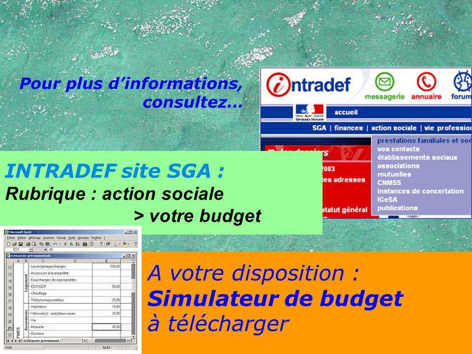 Pour plus dinformations, consultez… INTRADEF site SGA : Rubrique : action sociale > votre budget A votre disposition : Simulateur de budget à téléchar