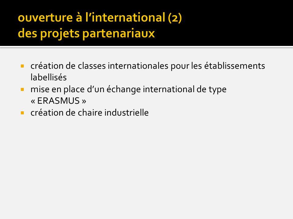création de classes internationales pour les établissements labellisés mise en place dun échange international de type « ERASMUS » création de chaire