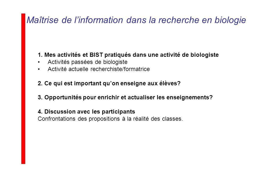 Maîtrise de linformation dans la recherche en biologie 1. Mes activités et BIST pratiqués dans une activité de biologiste Activités passées de biologi