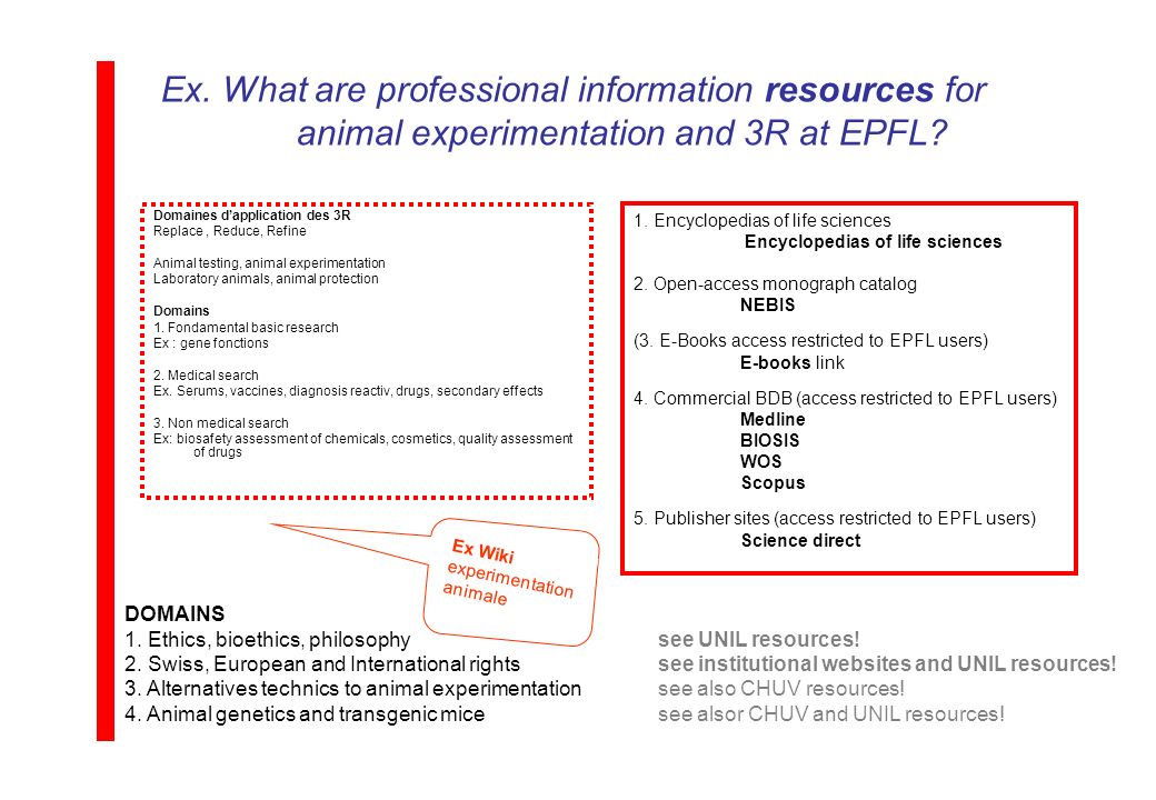 Ex. What are professional information resources for animal experimentation and 3R at EPFL.