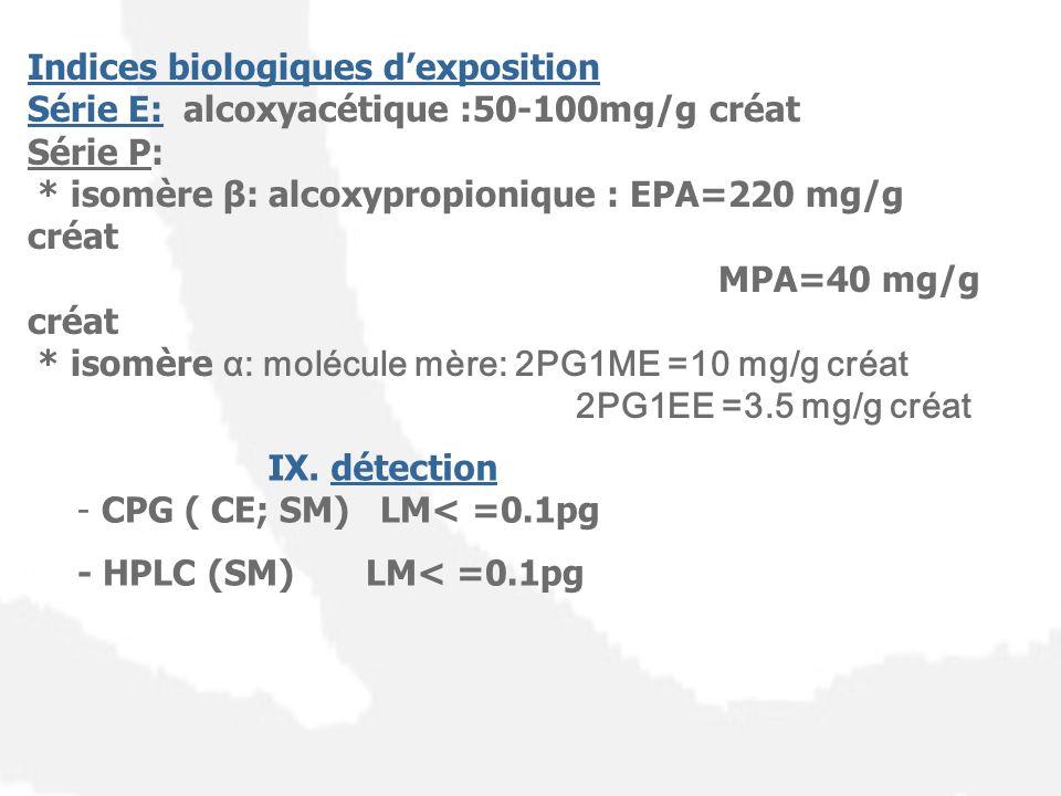 Indices biologiques dexposition Série E: alcoxyacétique :50-100mg/g créat Série P: * isomère β: alcoxypropionique : EPA=220 mg/g créat MPA=40 mg/g cré