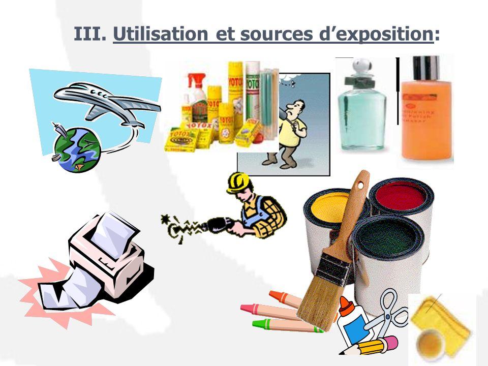 III. Utilisation et sources dexposition: