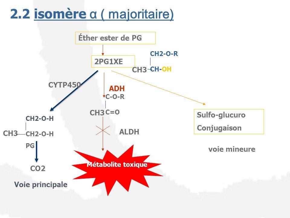 2.2 isomère α ( majoritaire) CH2-O-R CH-OH ADH Éther ester de PG 2PG1XE Sulfo-glucuro Conjugaison CH2-O-H PG CO2 CYTP450 Voie principale voie mineure