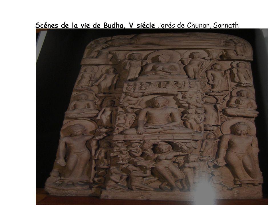 Scénes de la vie de Budha, V siécle, grés de Chunar, Sarnath