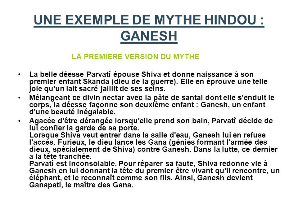 UNE EXEMPLE DE MYTHE HINDOU : GANESH LA PREMIERE VERSION DU MYTHE La belle déesse Parvatî épouse Shiva et donne naissance à son premier enfant Skanda