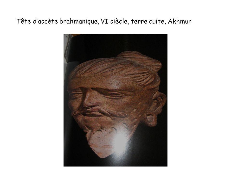 Tête dascète brahmanique, VI siècle, terre cuite, Akhmur