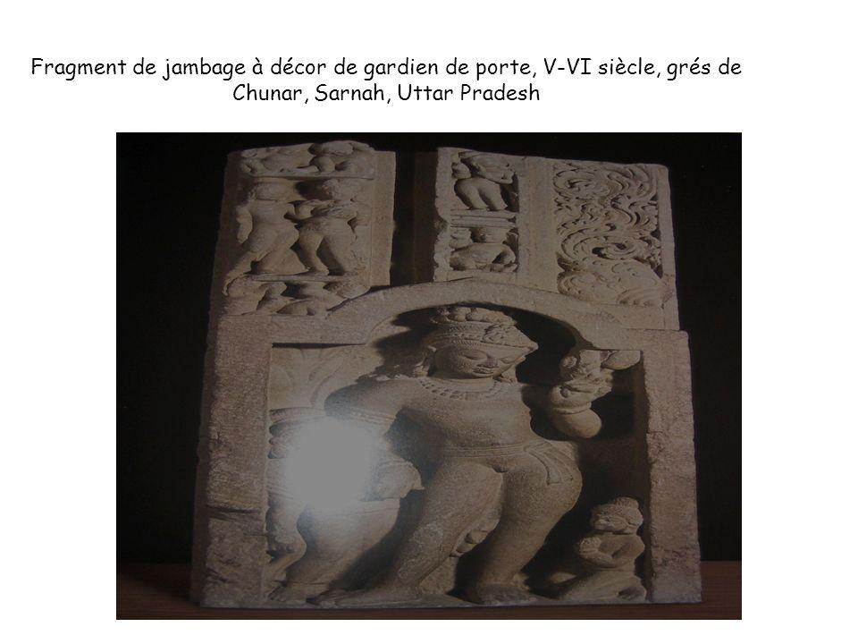 Fragment de jambage à décor de gardien de porte, V-VI siècle, grés de Chunar, Sarnah, Uttar Pradesh