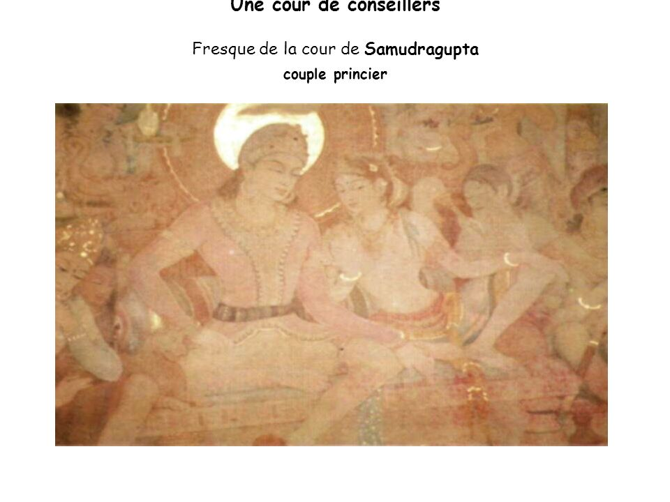 le quotidien des gens de cour Danseuse et musicienne Fresque d Ajanta, caverne 2 du 7/8e siècle)
