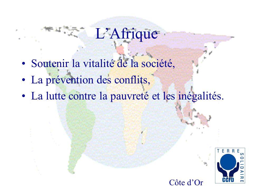 Côte dOr 19 LAfrique Soutenir la vitalité de la société, La prévention des conflits, La lutte contre la pauvreté et les inégalités.