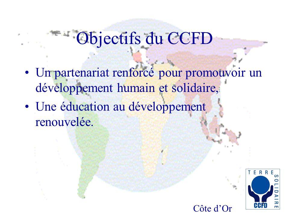 Côte dOr 3 Objectifs du CCFD Un partenariat renforcé pour promouvoir un développement humain et solidaire, Une éducation au développement renouvelée.