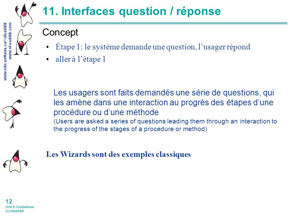 www.site.uottawa.ca/~elsaddik www.el-saddik.com 12 Unit E-Guidelines (c) elsaddik 11.