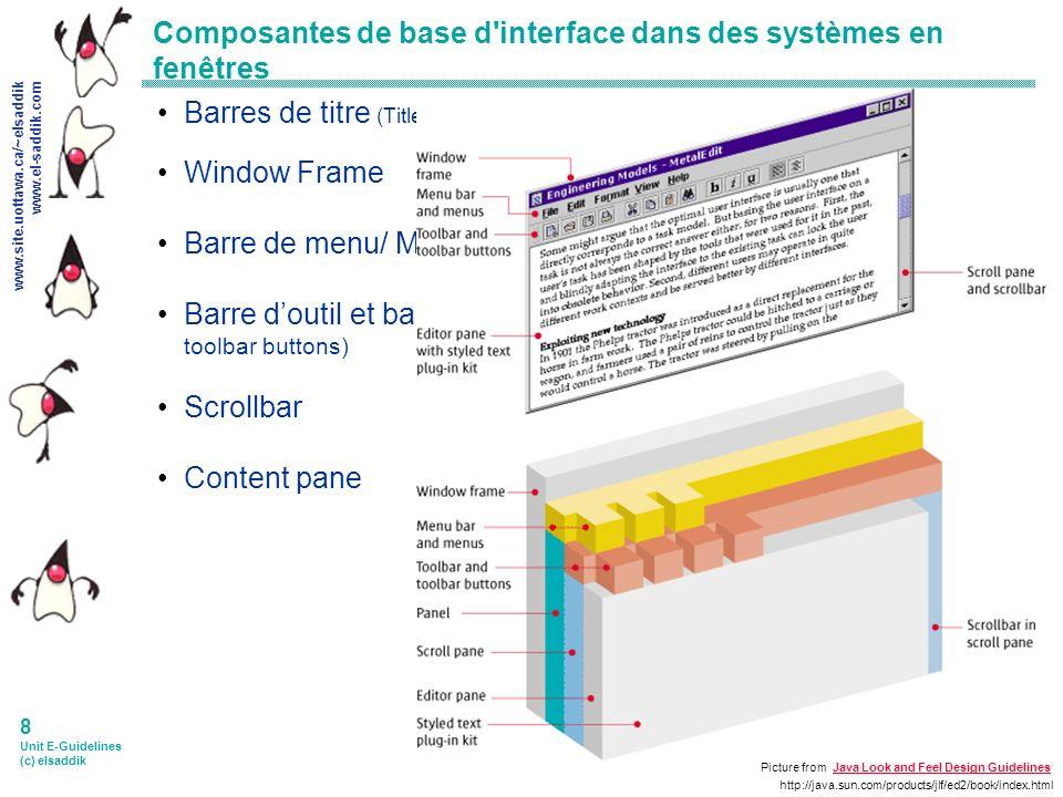 www.site.uottawa.ca/~elsaddik www.el-saddik.com 9 Unit E-Guidelines (c) elsaddik Conception de fenêtres multiples Avantages Les fenêtres optimisent lutilisation de lespace daffichage.