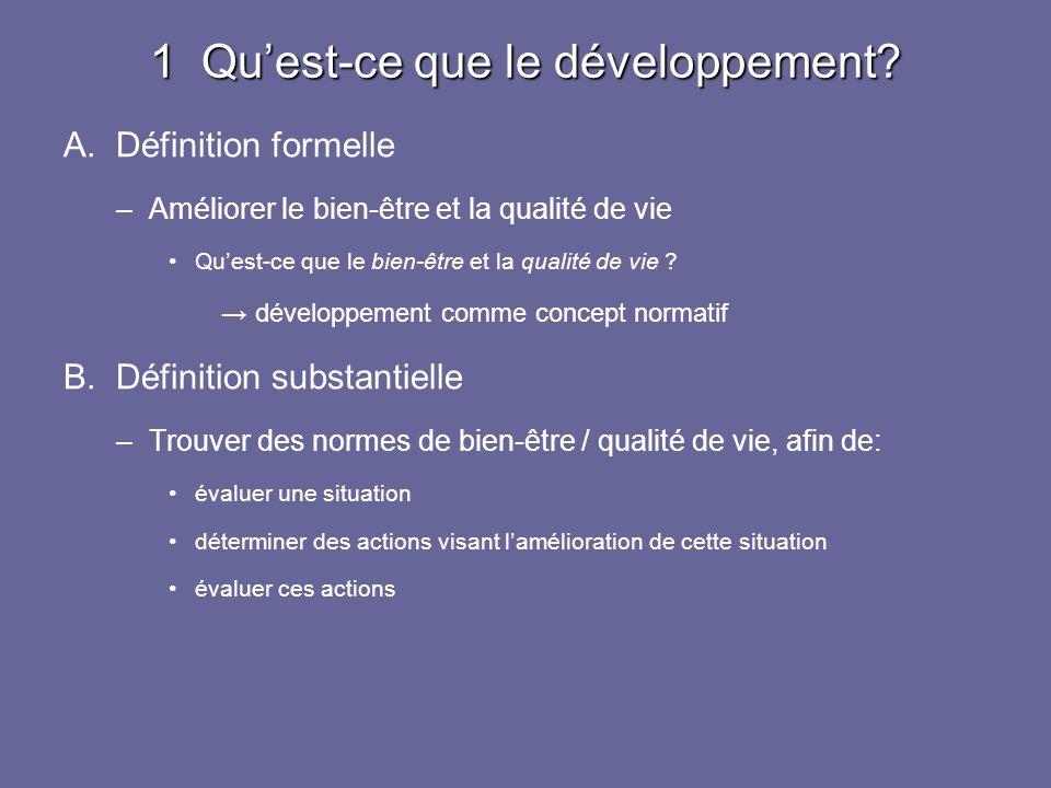 1 Quest-ce que le développement? A.Définition formelle –Améliorer le bien-être et la qualité de vie Quest-ce que le bien-être et la qualité de vie ? d