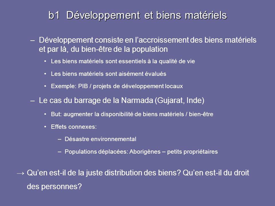 b1 Développement et biens matériels –Développement consiste en laccroissement des biens matériels et par là, du bien-être de la population Les biens m